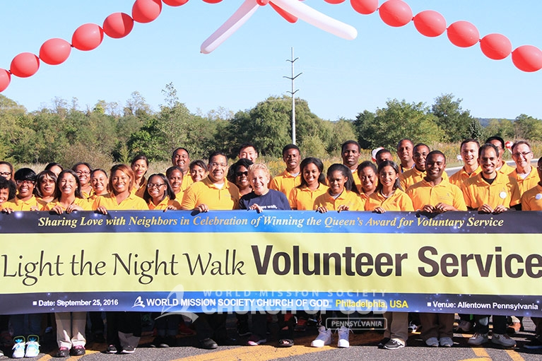 world mission society church of god in philadelphia, wmscog pennsylvania, Leukemia and Lymphoma Society light the night walk, east coast volunteer service day 2016
