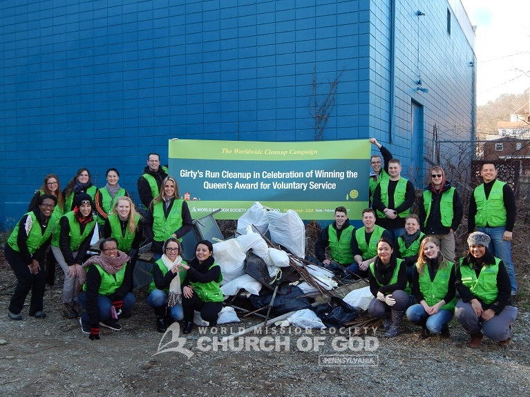 world mission society church of god, church of god, church of god in pennsylvania, church of god in pittsburgh, girty's run watershed, allegheny cleanways, allegheny county conservation district, yellow shirt volunteers, environmental protection